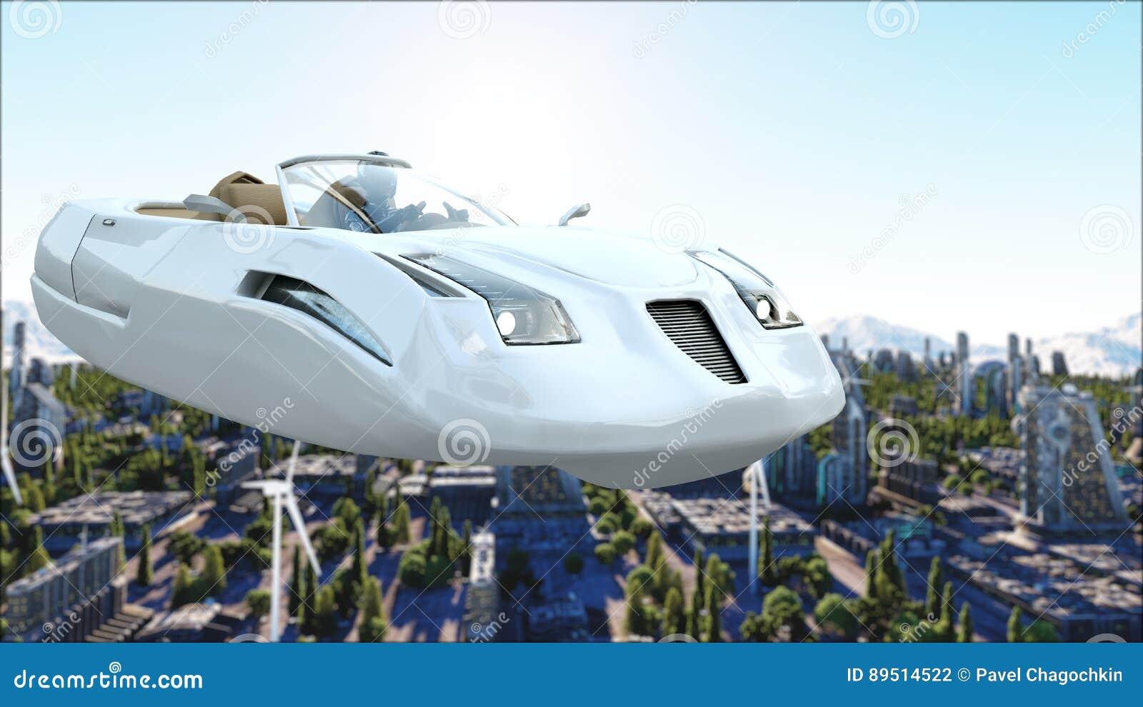Futuristische auto die over de stad, stad vliegen Vervoer van de toekomst Lucht Mening het 3d teruggeven