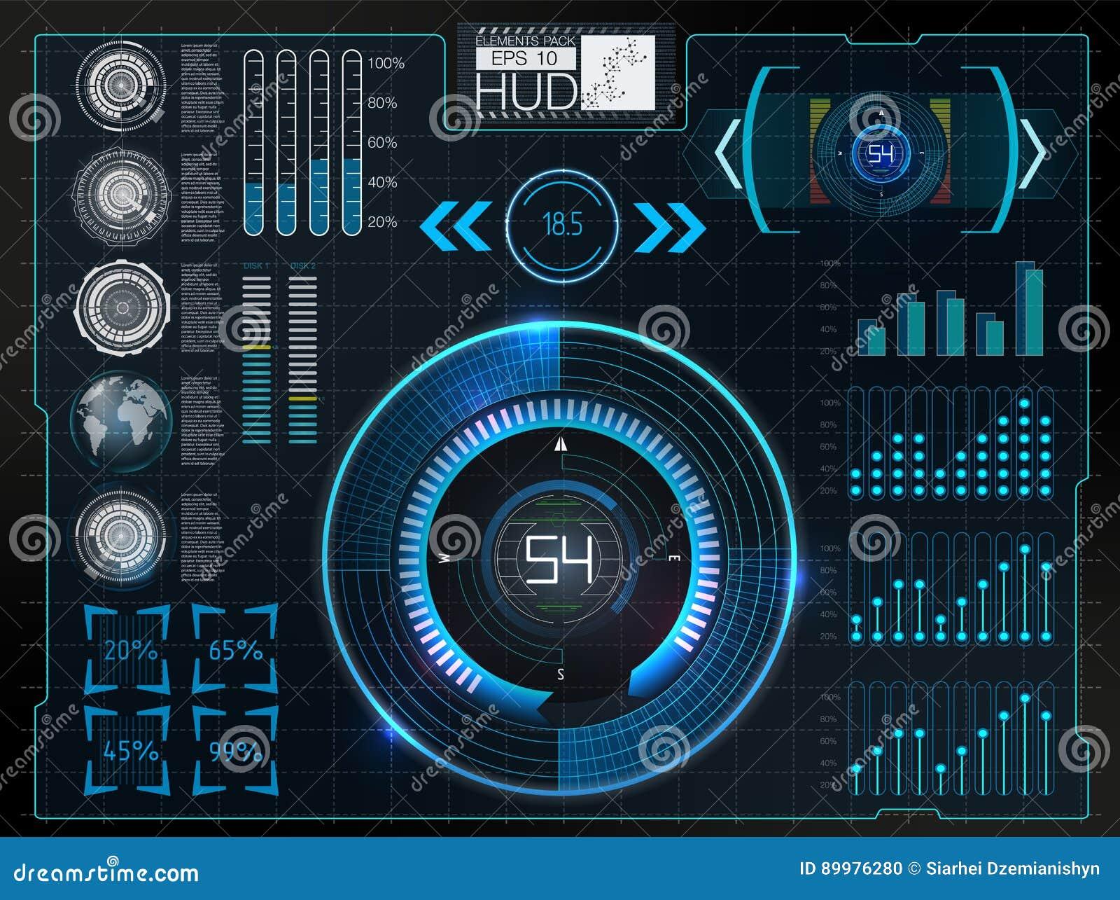 Futuristische Benutzerschnittstelle Weltraum Hud-Hintergrundes Infographic Elemente Digital-Daten, abstrakter Hintergrund des Ges