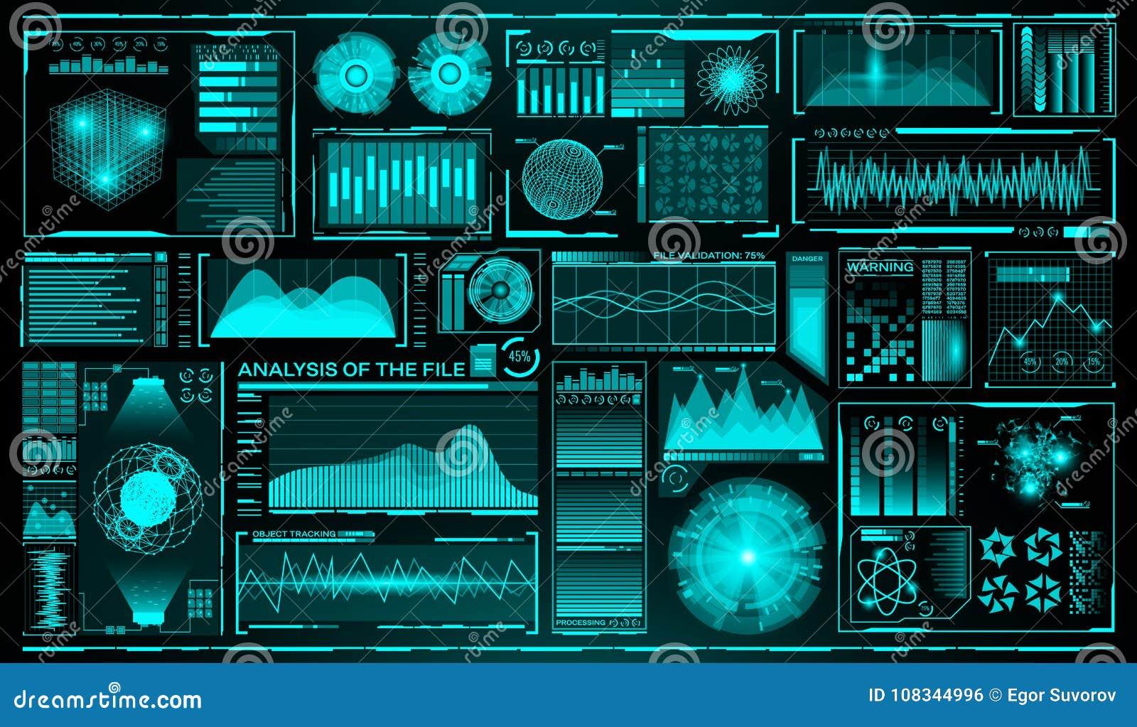 Futuristische gebruikersinterfacereeks HUD Toekomstige infographic elementen Technologie en wetenschapsthema Analysesysteem aftas