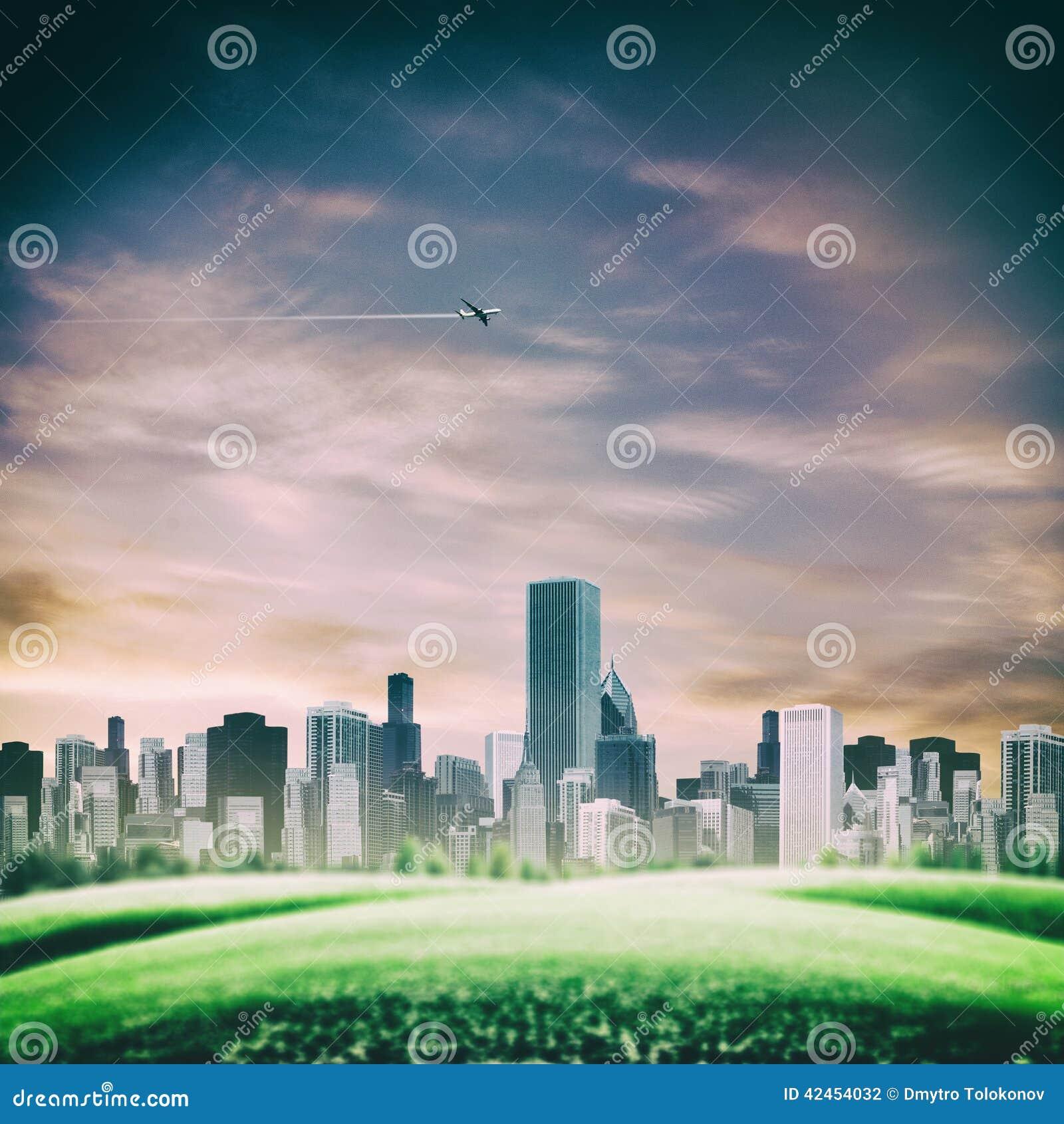 Futuristische Hintergründe mit modernen städtischen Gebäuden