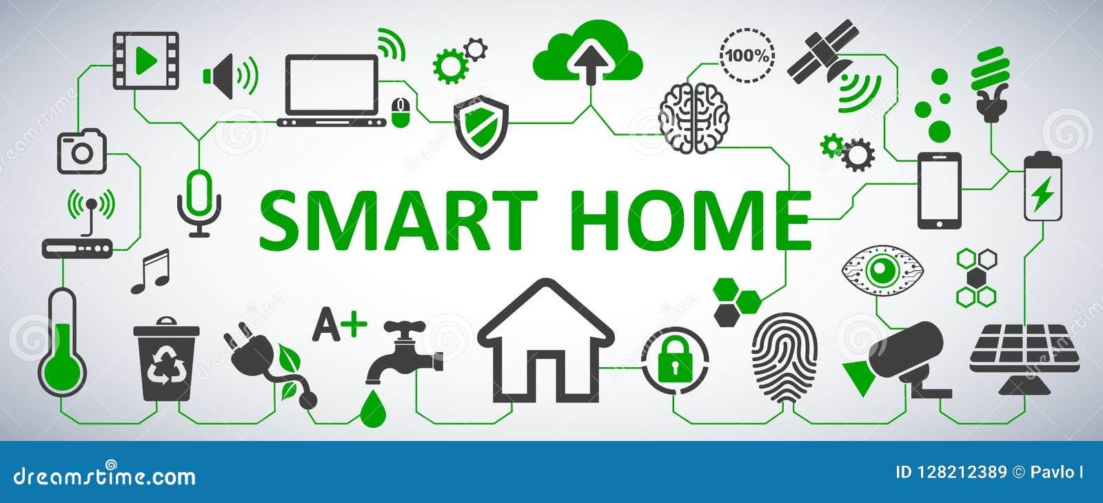 Futuristische interface van de slimme medewerker van de huisautomatisering Controlesysteem Het netwerkconcept van de innovatietec