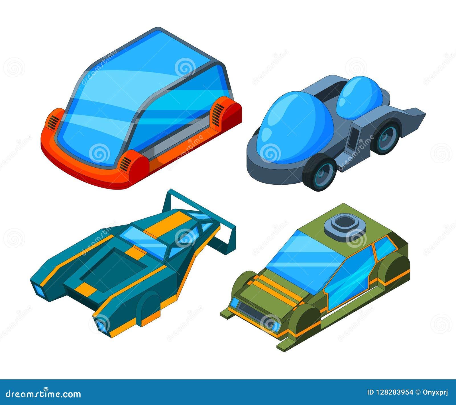 Futuristische isometrische auto s Vector 3d lage poly futuristische auto s