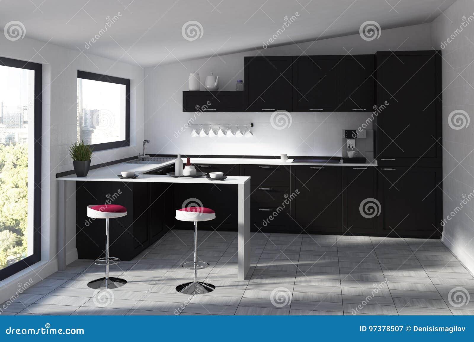 Futuristische Küche Mit Einer Stange, Schwarz Stock Abbildung ...