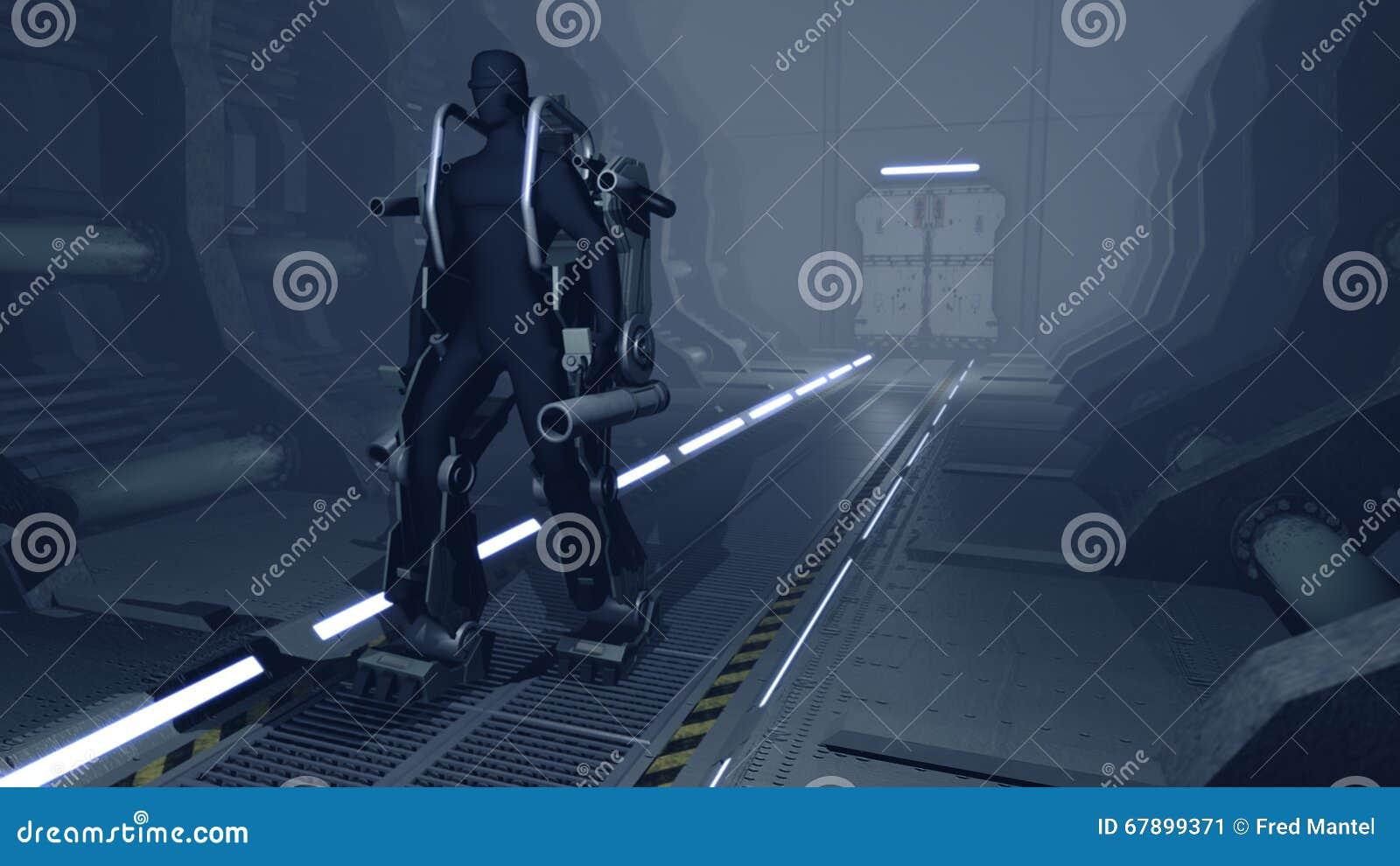 Futuristische mech die door een hangaar sc.i-FI lopen