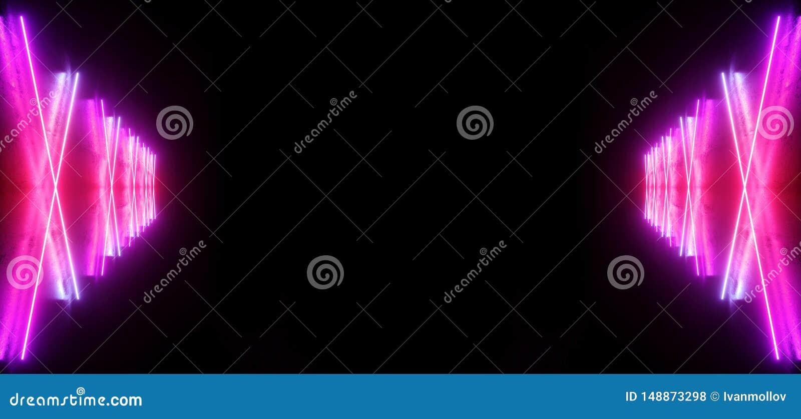 Futuristische Sc.i-van de het Neon Gloeiende Purpere Blauwe Laser Gestalte gegeven Abstracte Virtuele Fluorescente Donkere Glanze