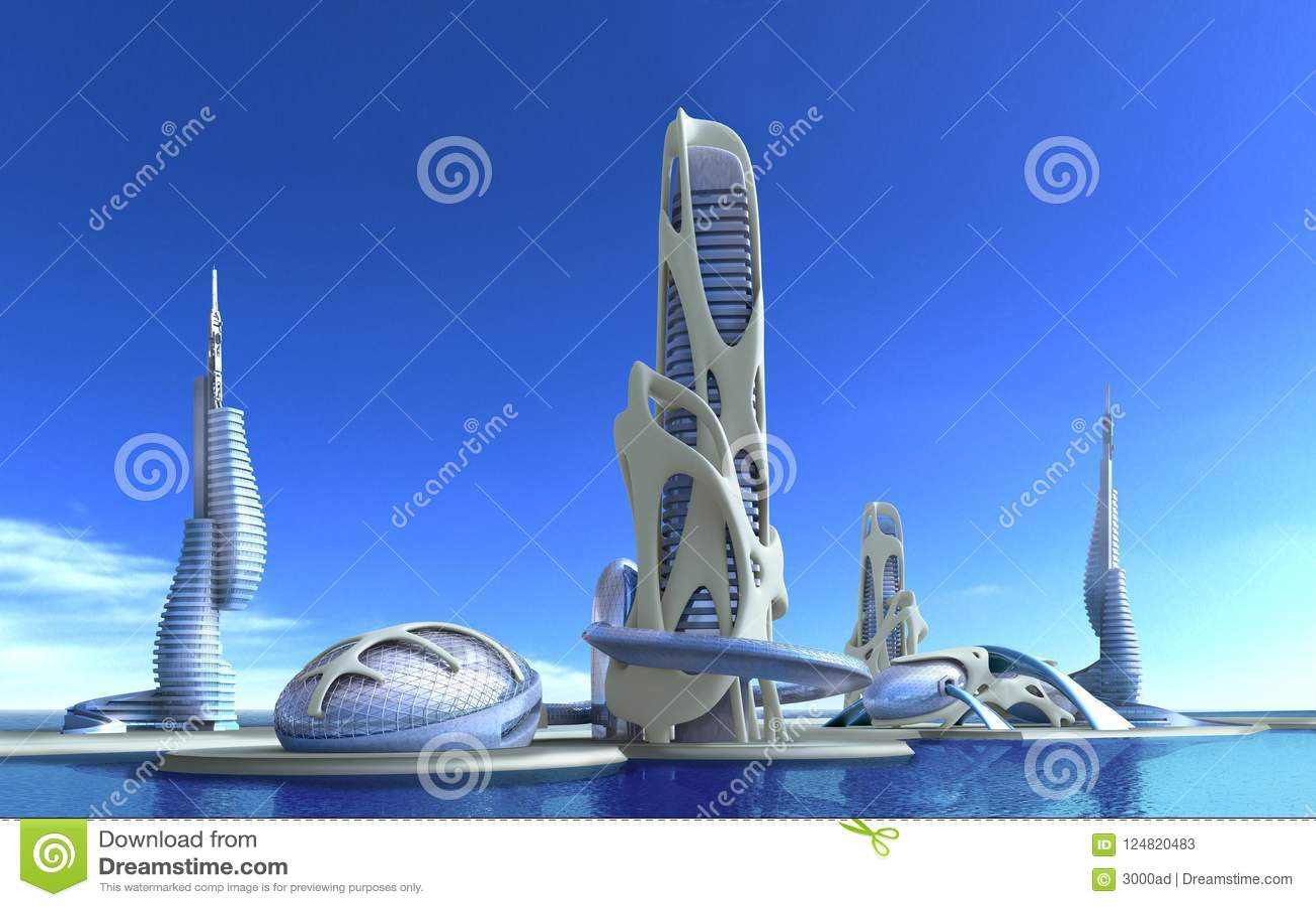 Futuristische stadsarchitectuur voor fantasie en zieke science fiction