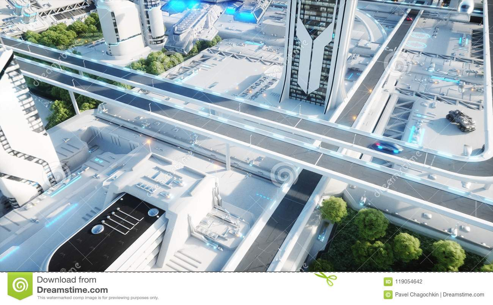 Futuristische Stadt, Stadt Das Konzept der Zukunft Schattenbild des kauernden Geschäftsmannes Wiedergabe 3d