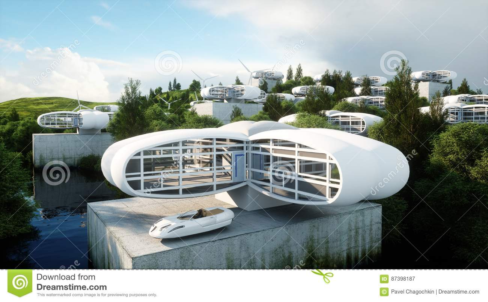 Futuristische Stadt, Dorf Das Konzept der Zukunft Schattenbild des kauernden Geschäftsmannes Wiedergabe 3d
