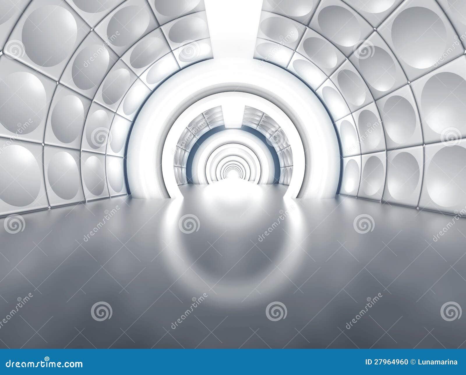 Futuristische tunnel zoals ruimteschipgang