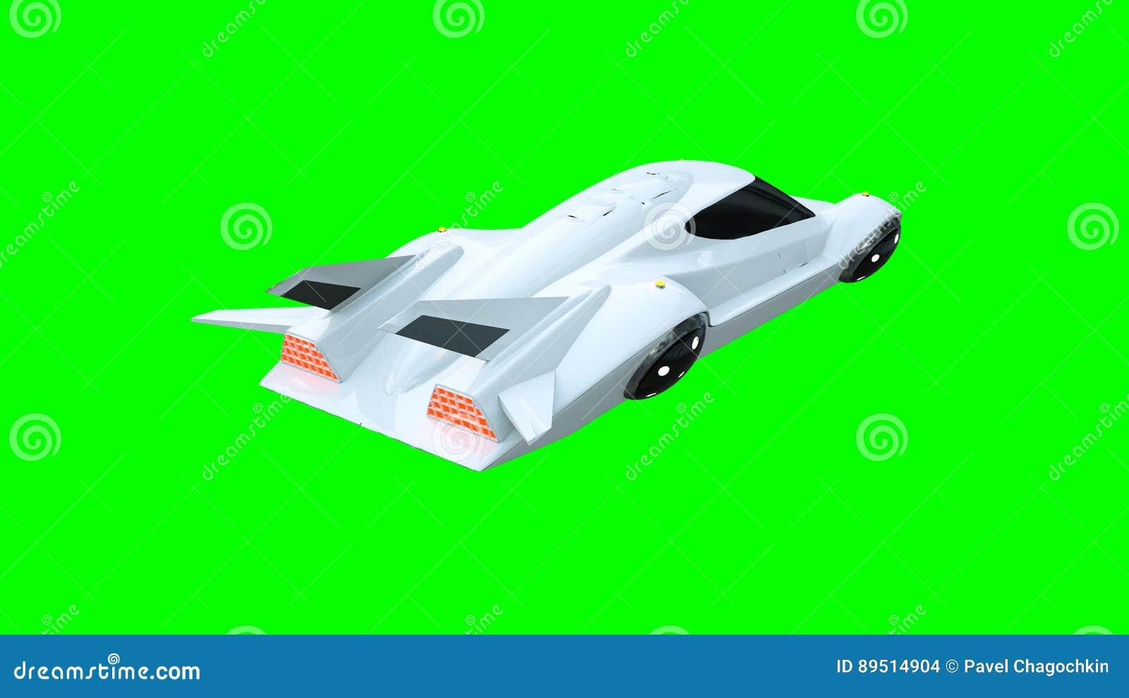 Futuristische vliegende auto Vervoer van toekomst isoleer het 3d teruggeven