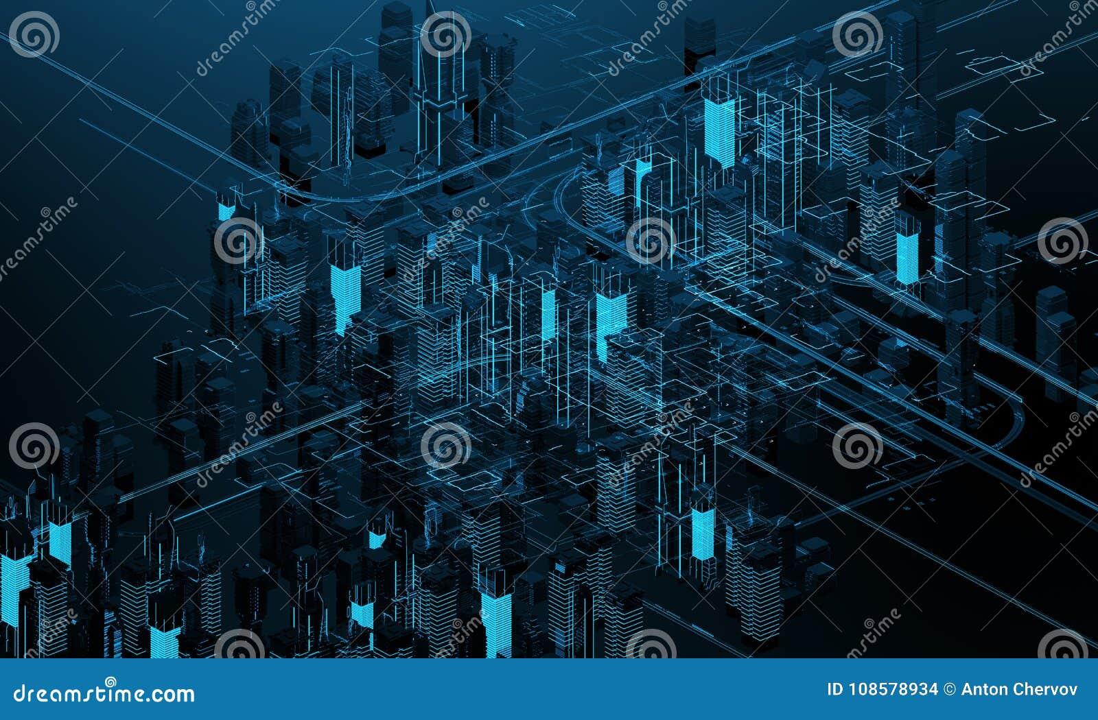 Futuristische wolkenkrabbers in de stroom De stroom van digitale gegevens Stad van de toekomst Aren met de gebieden die op hen wo