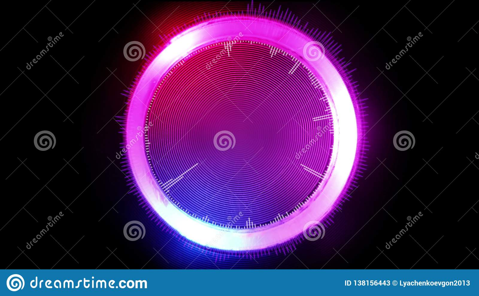 Futuristischer grafischer Kreis der Zusammenfassung, glühend in verschiedene Farben, Illustration 3D