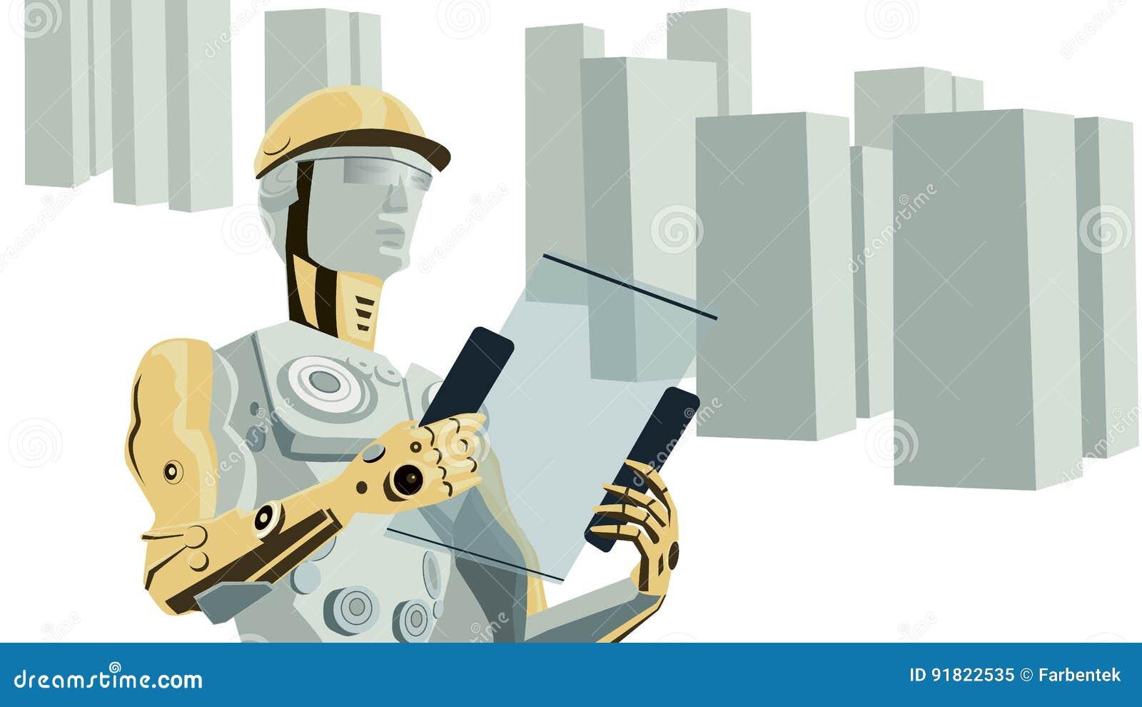 Futuristischer Konzept-Vektor des Roboter-Bauarbeiters mit Gebäuden