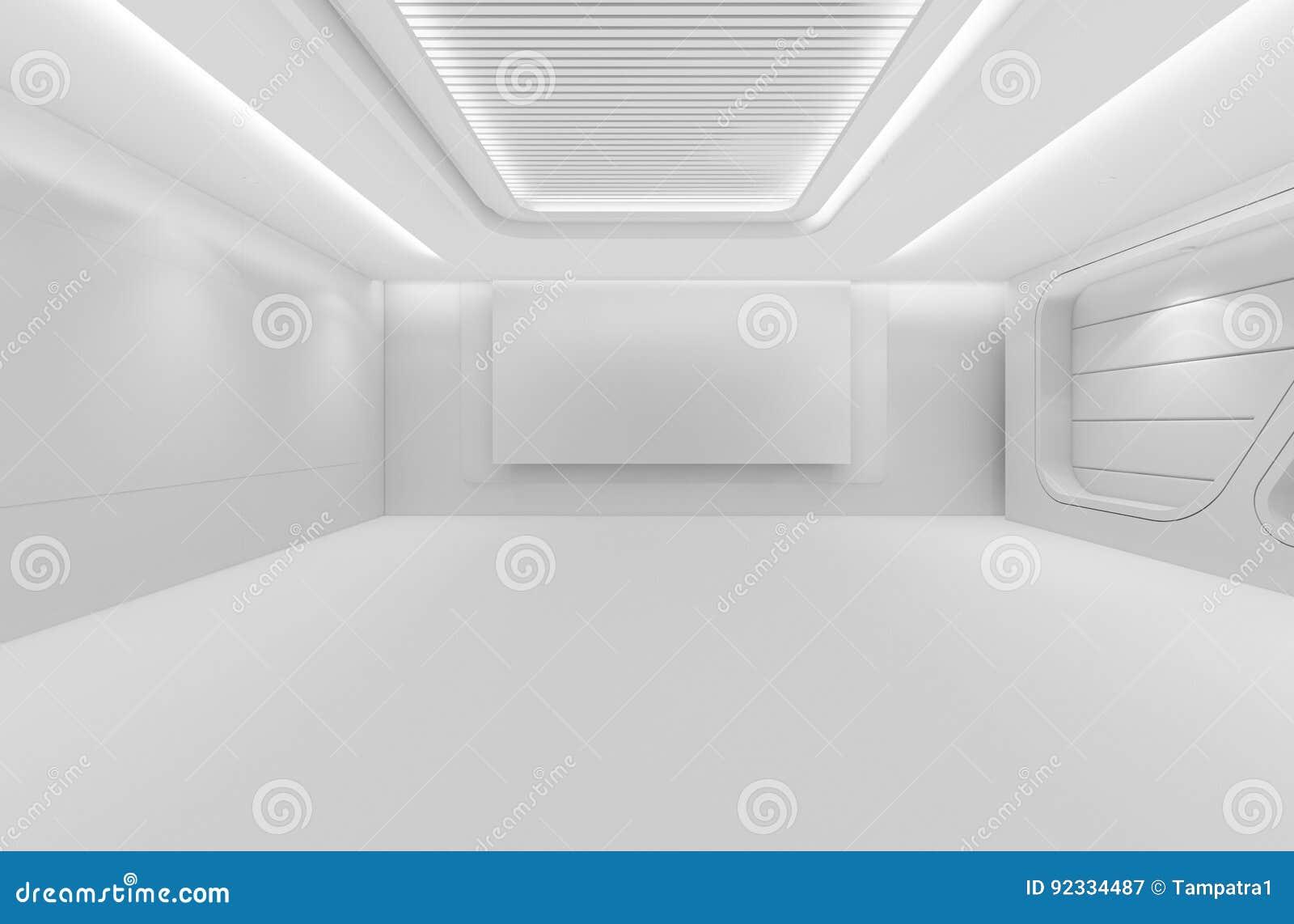 Futuristischer leerer Raum, 3d übertragen Innenarchitektur, Weißspott oben
