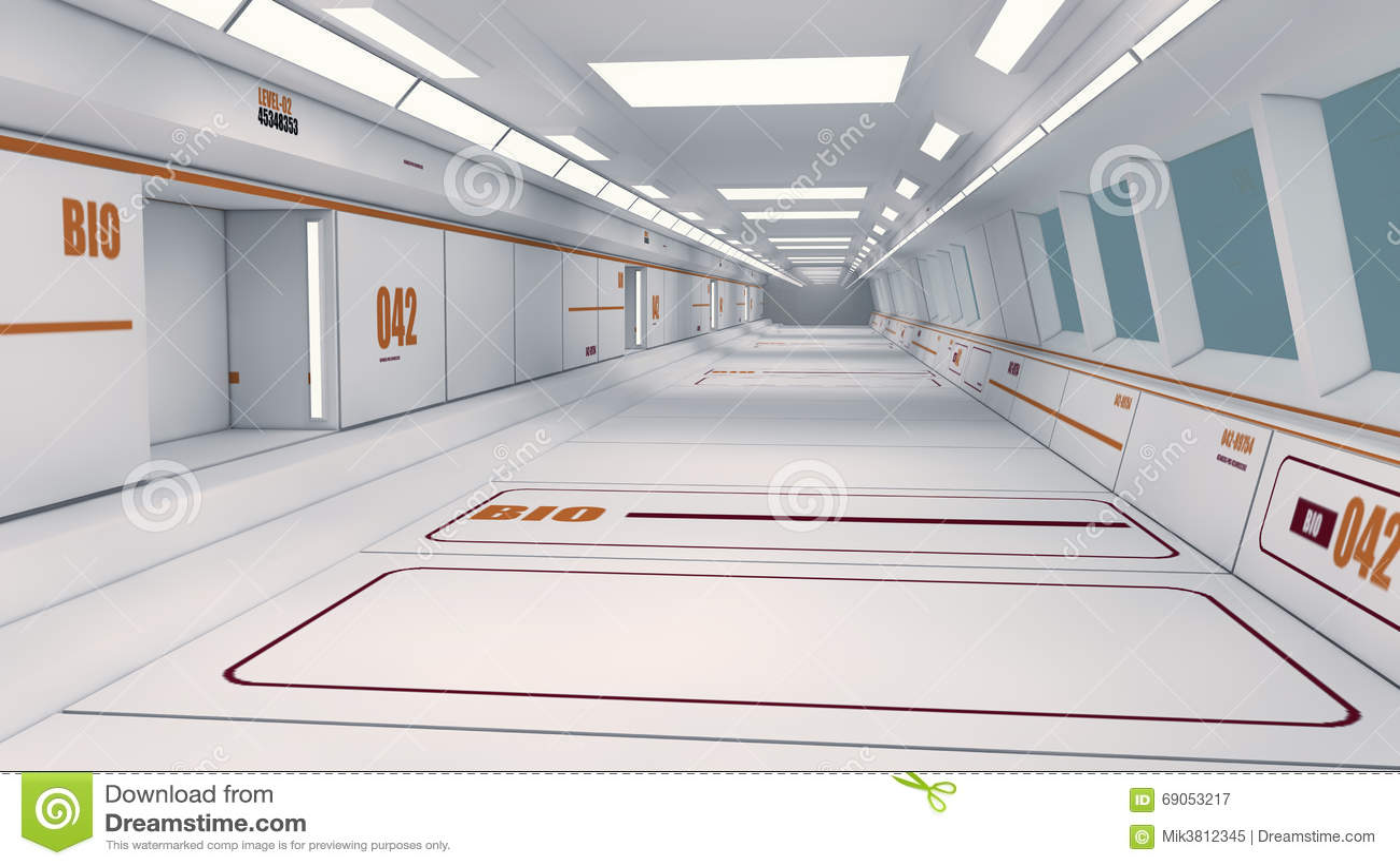 Futuristischer Raumschiffinnenraumkorridor
