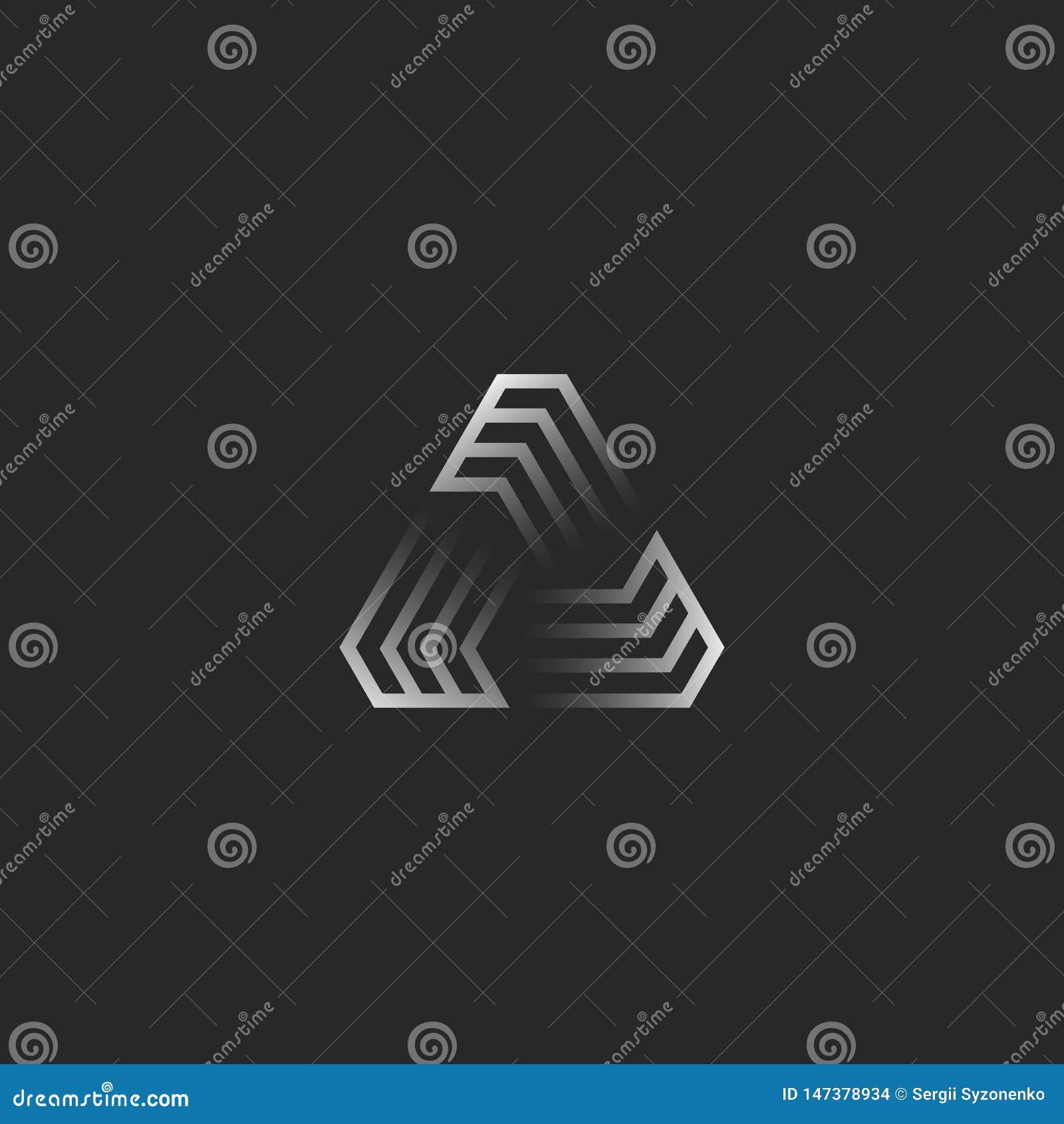 Futuristisches Dreieckformlogo, geometrischer Rahmenbau der kreativen Steigung für T-Shirt Druckemblem, Cybertechnologieikone ode