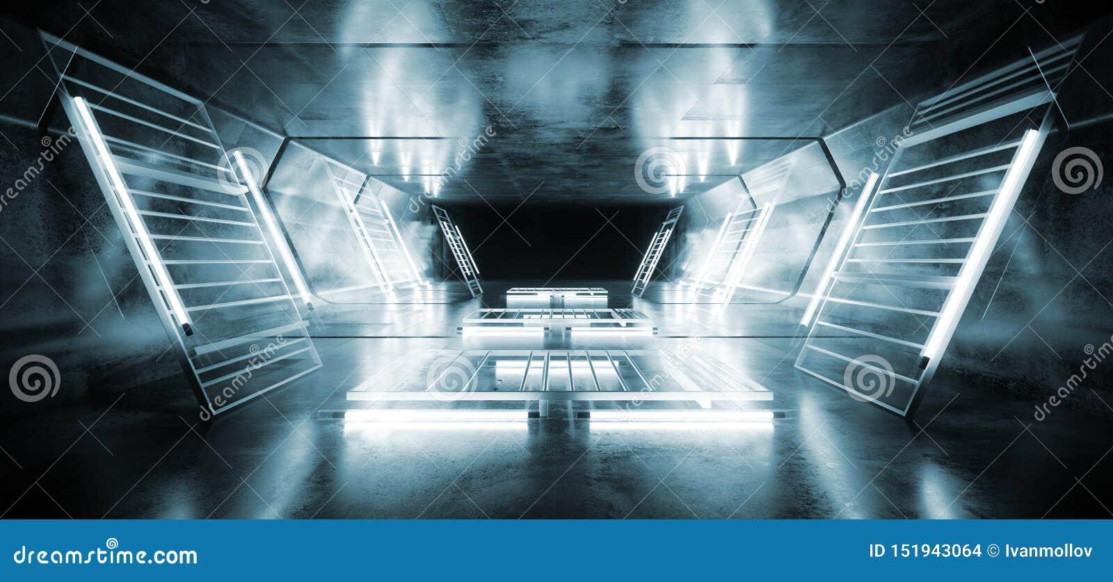 Futuristisches Film- glühender reflektierender Schmutz-konkreter Tunnel Bau-Metall-Mesh Spaceship Virtual White Blues Sci FI