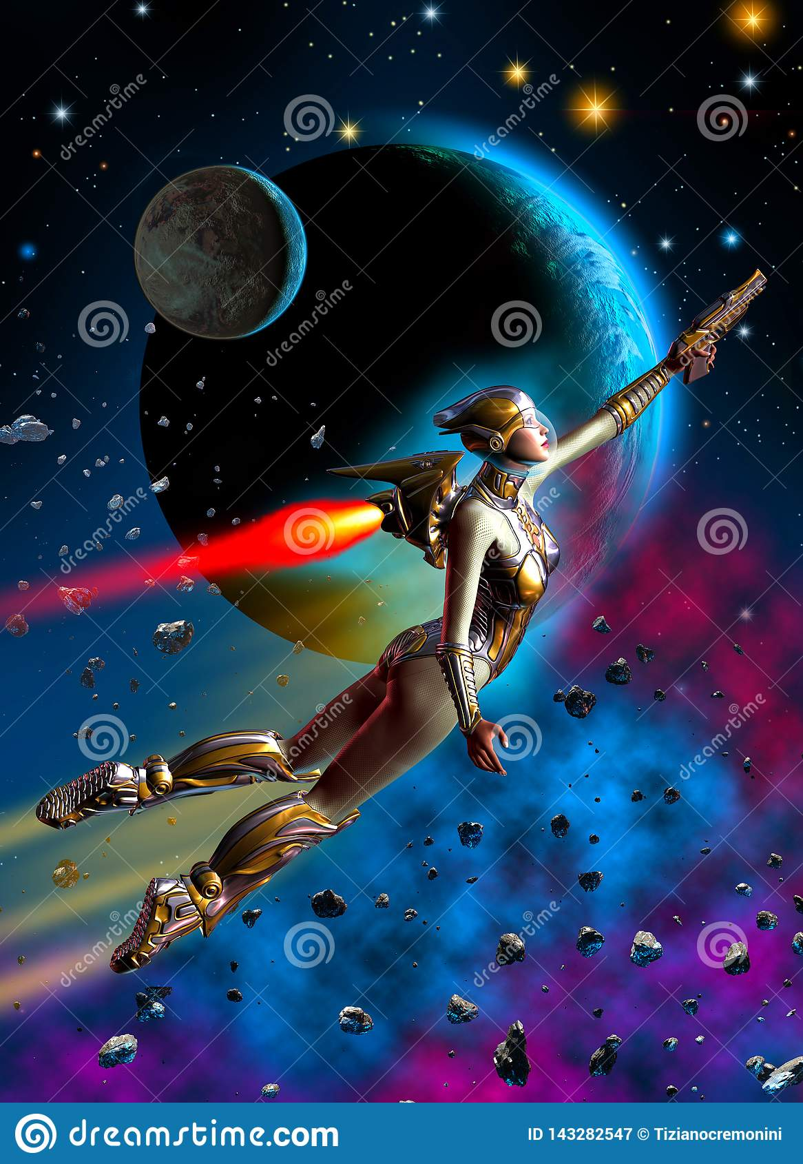 Futuristisches Frauensoldatfliegen im Weltraum, in den Hintergrundsternen, in den Planeten, im Nebelfleck und in den Asteroiden,