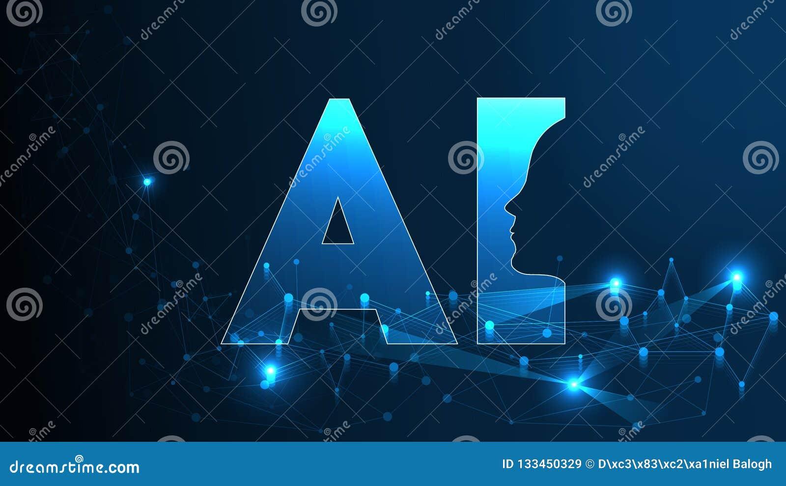 Futuristisches Konzept künstliche Intelligenz AI Menschliche große Daten Sichtbarmachung mit Cyber-Verstand Maschinen-tiefes Lern