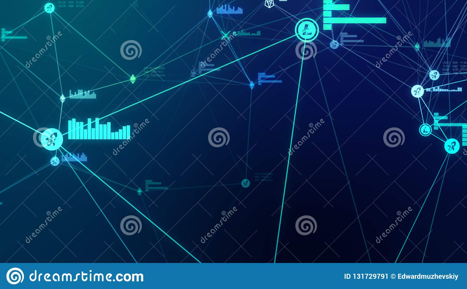 Futuristisk abstrakt blå illustration för cryptocurrencynätverksanslutning 3D