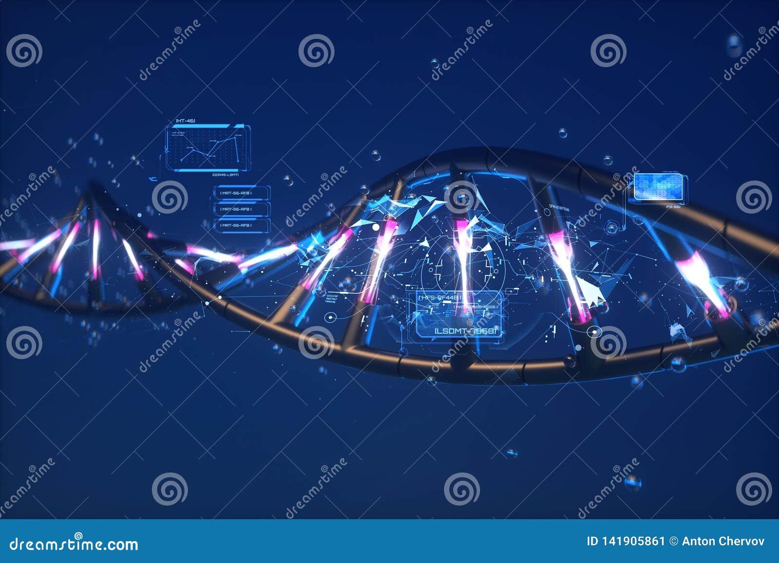 Futuristisk abstraktion 3D av DNA:t