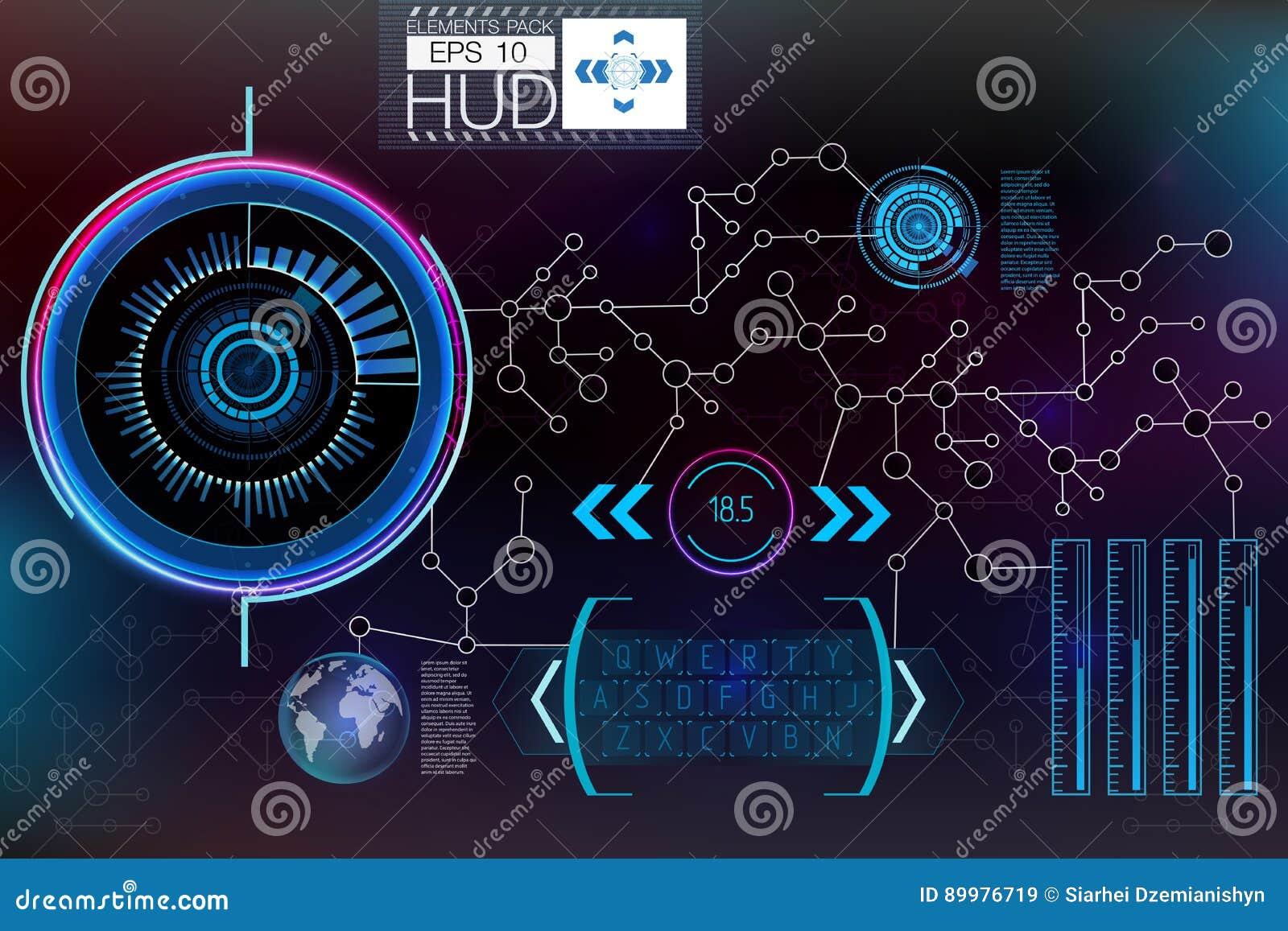 Futuristisk användargränssnitt HUD UI Abstrakt faktisk grafisk handlaganvändargränssnitt Hud bakgrundsyttre rymd