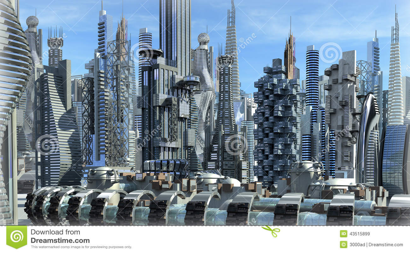 Futuristisk arkitektonisk stad