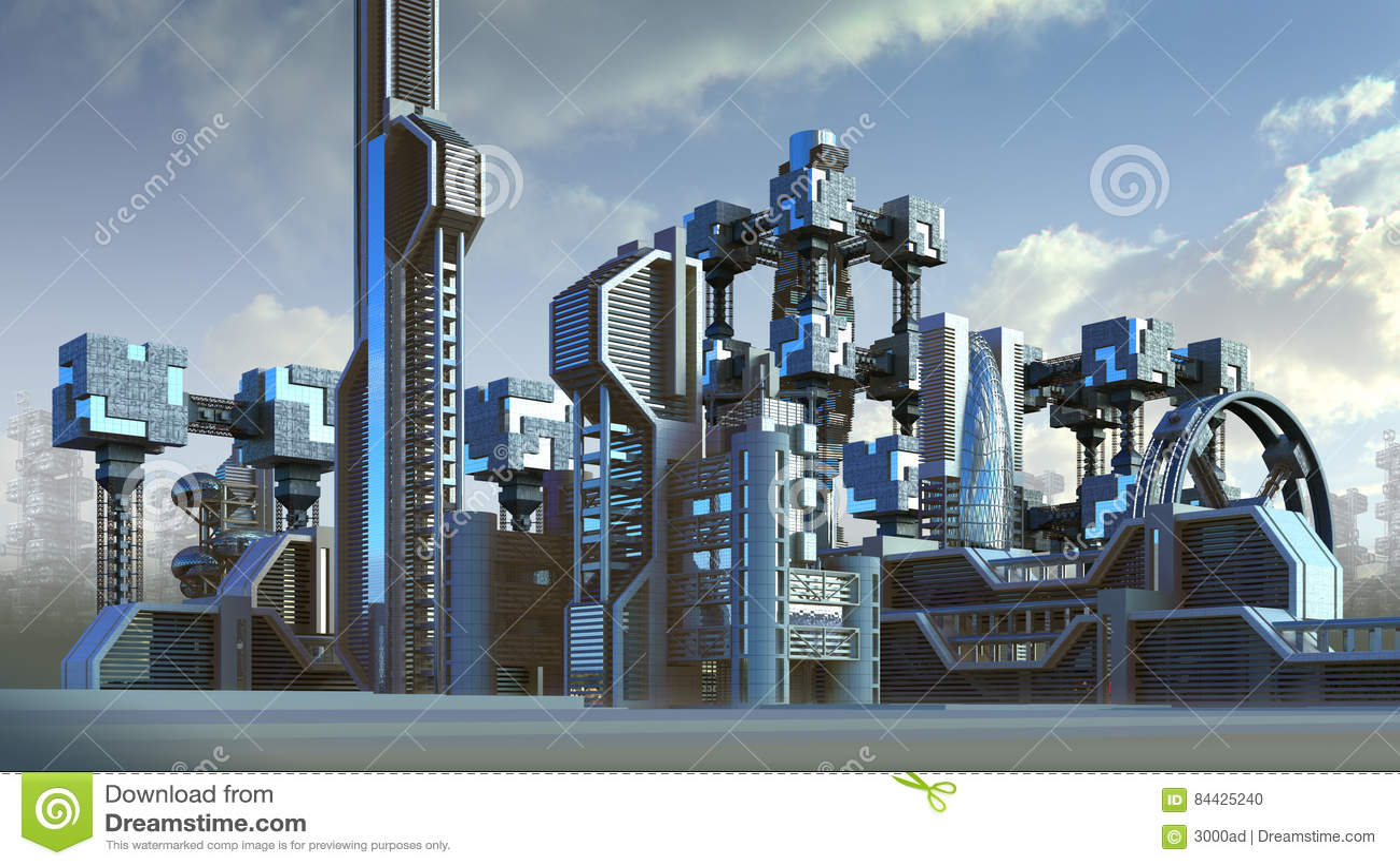 Futuristisk arkitektur av en stadshorisont