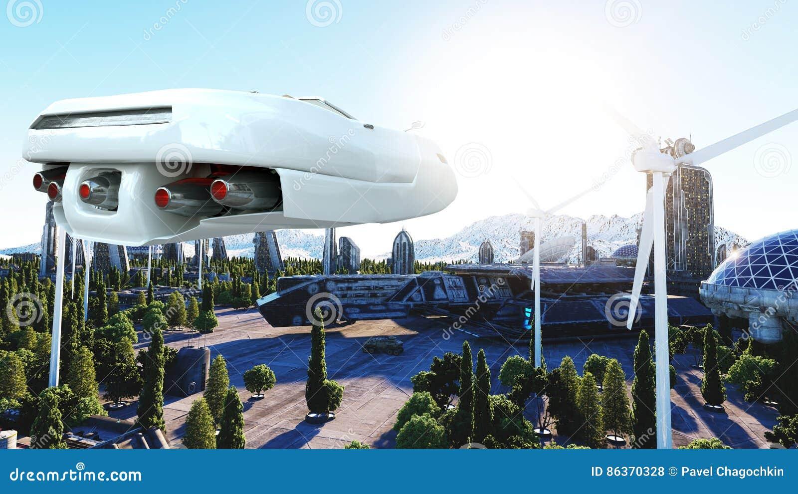 Futuristisk bil som flyger över staden, stad Transport av framtiden flyg- sikt framförande 3d