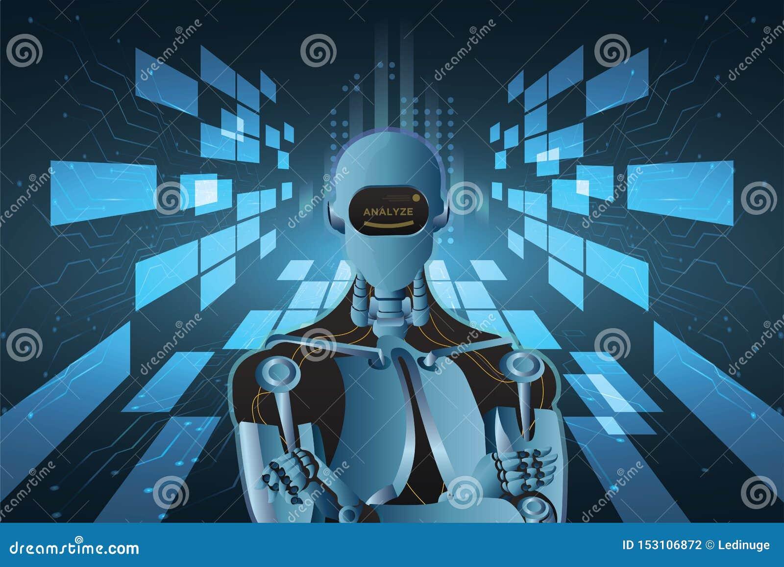 Futuristisk för robotstil för konstgjord intelligens illustration för vektor för abstrakt begrepp
