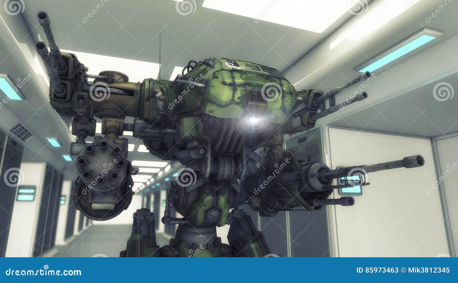 Futuristisk inre arkitektur och robot