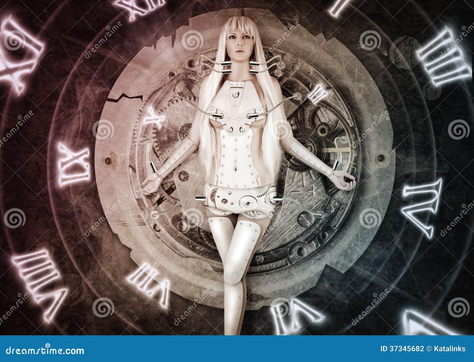 Futuristisk kvinnaflyttning från forntid till framtid