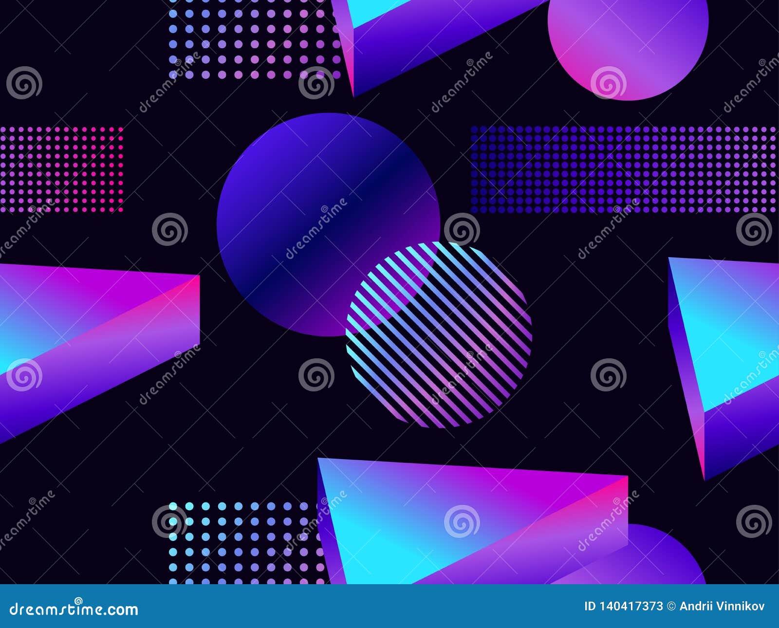 Futuristisk sömlös modell med geometriska former Lutning med purpurfärgade signaler isometrisk form 3d