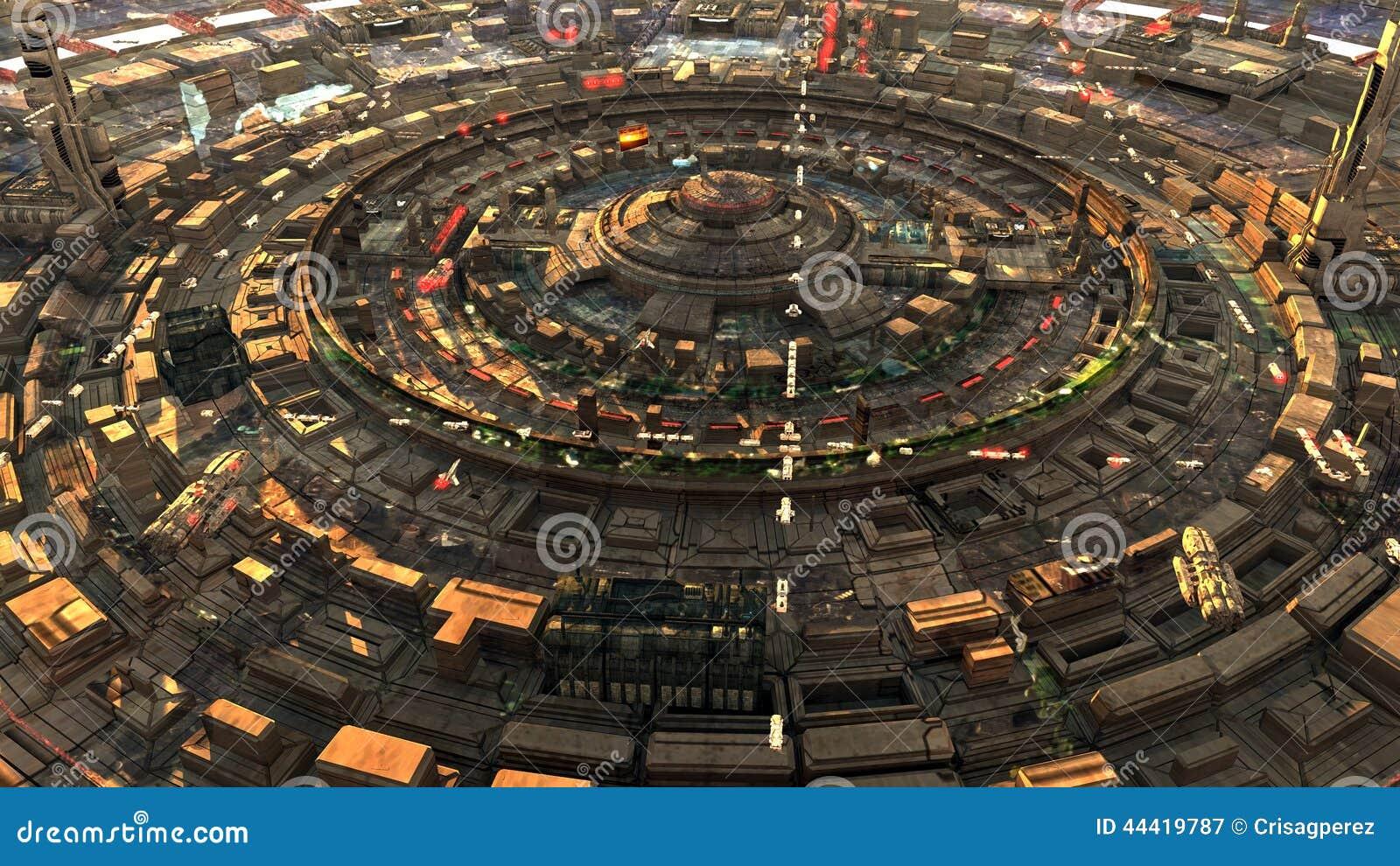 Futuristisk sikt för science fictionstadsgata, digitalt illustration 3d