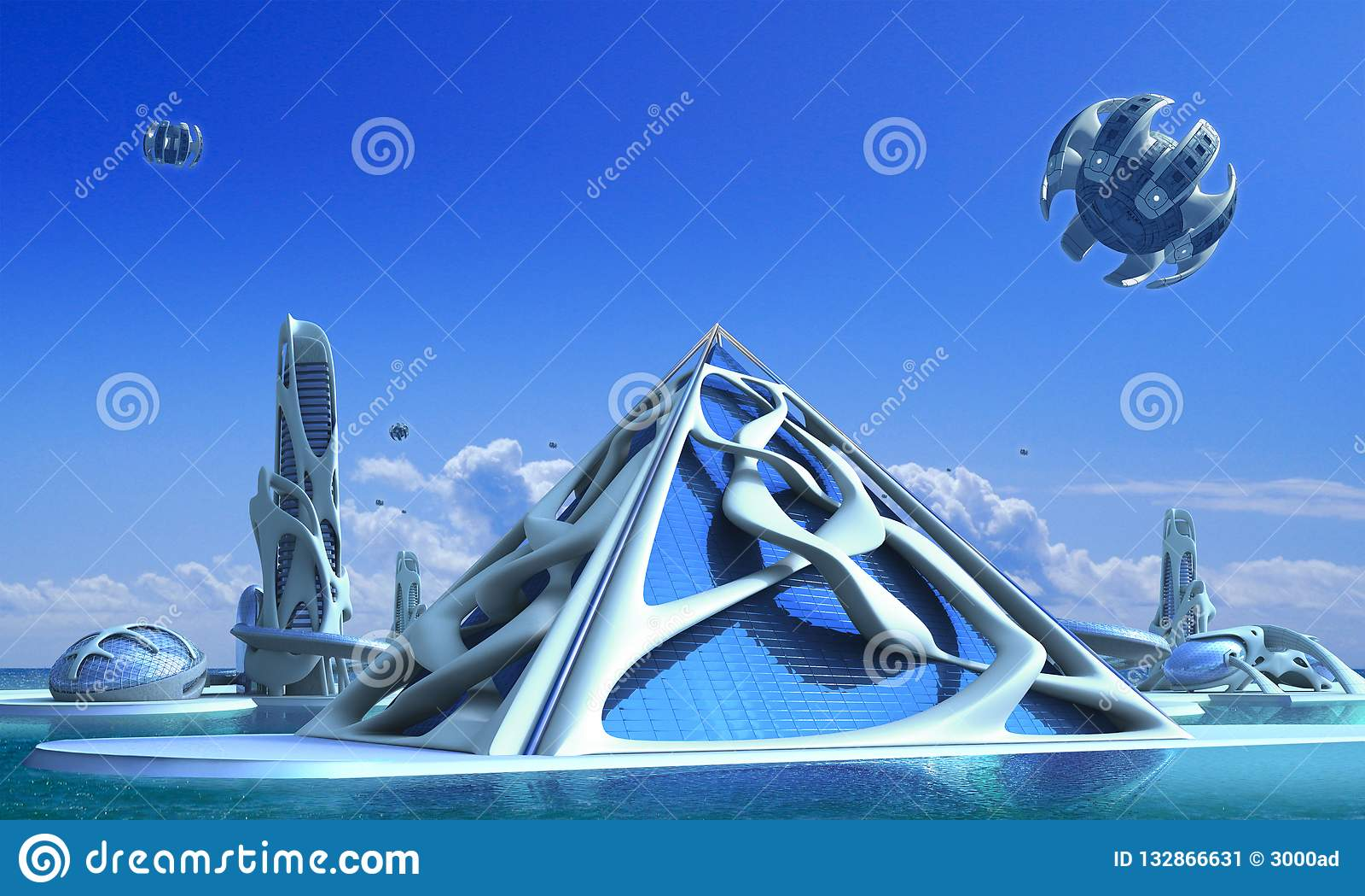 Futuristisk stad 3D med organisk arkitektur