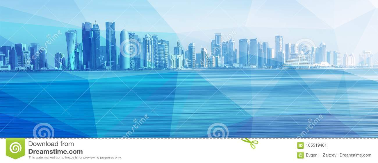 Futuristisk stads- horisont på blå polygonbakgrund Global kommunikation och nätverk