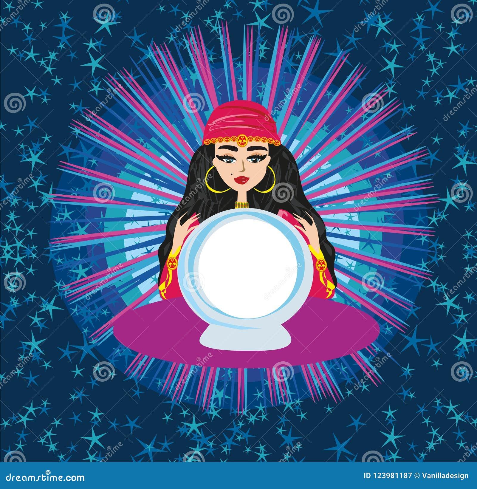 Futuro da leitura da mulher do caixa de fortuna na bola de cristal mágica