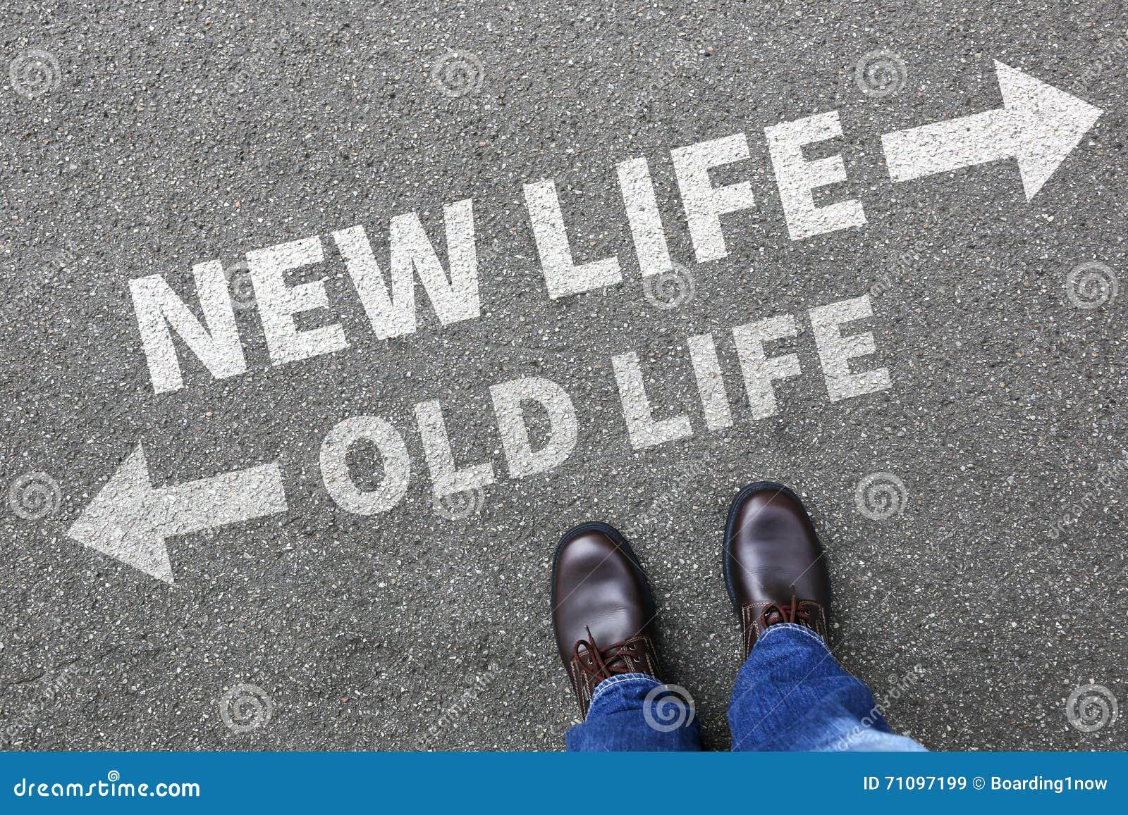 Futuro novo velho da vida após a mudança da decisão do sucesso dos objetivos