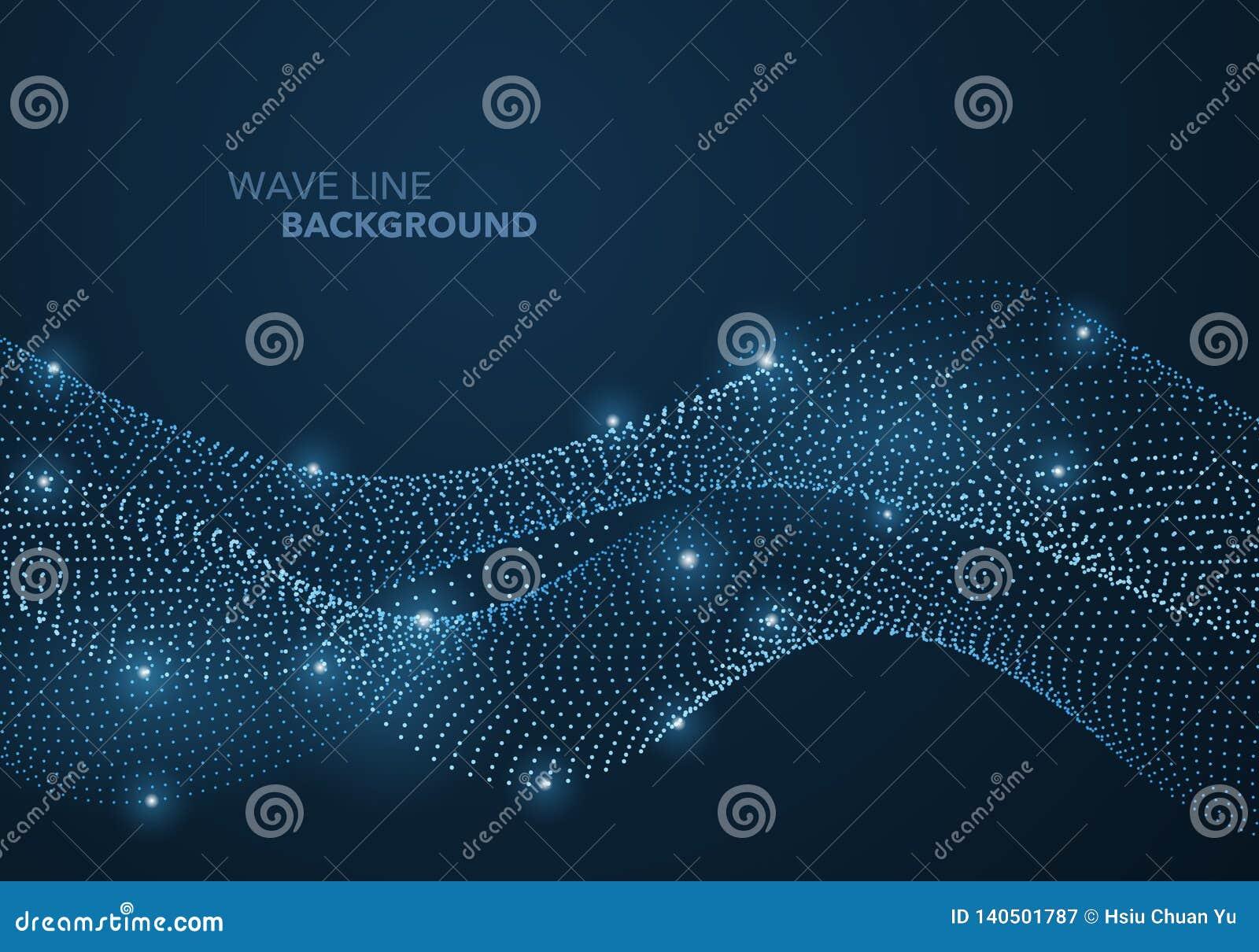 Futurystyczna abstrakt fali kropki gradientu linia i iluminujący lekki balowy szablonu tło