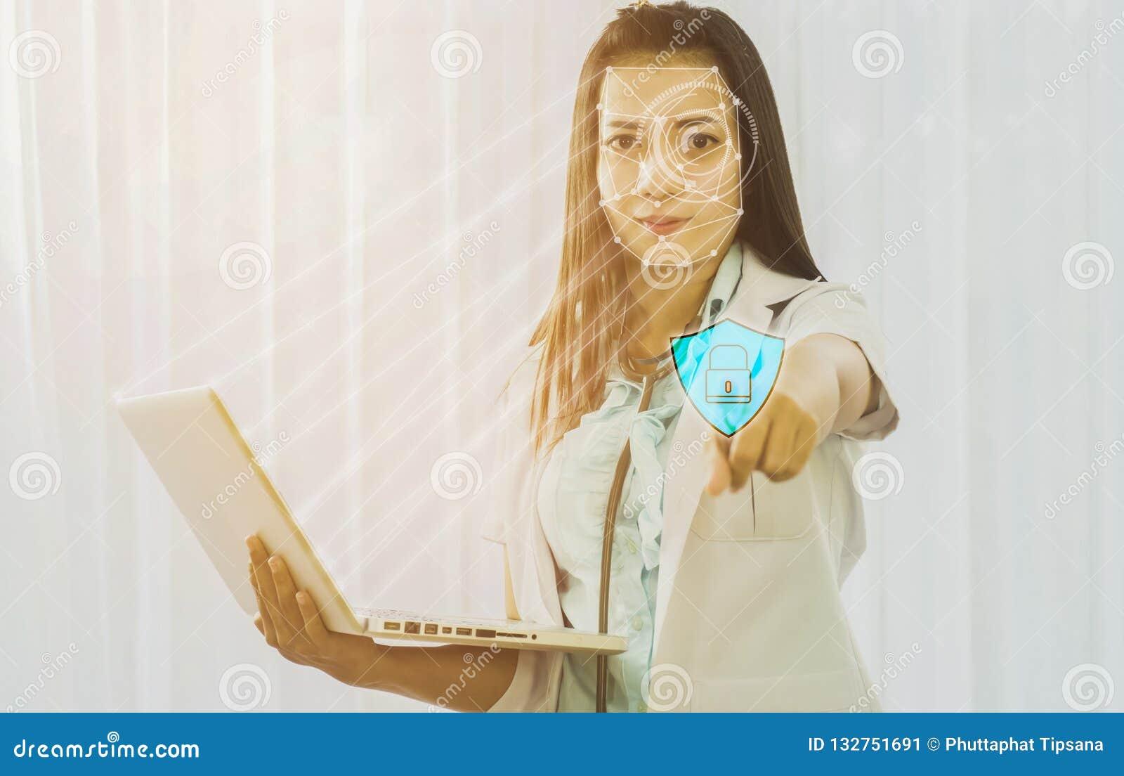 Futurystyczna cyber ochrona z twarzowym rozpoznaniem lekarka a