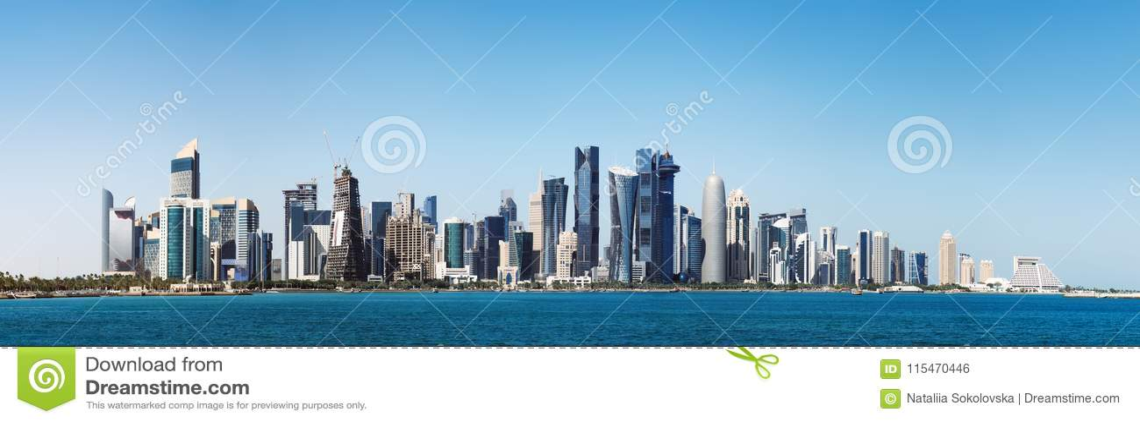 Futurystyczna linia horyzontu Doha w Katar