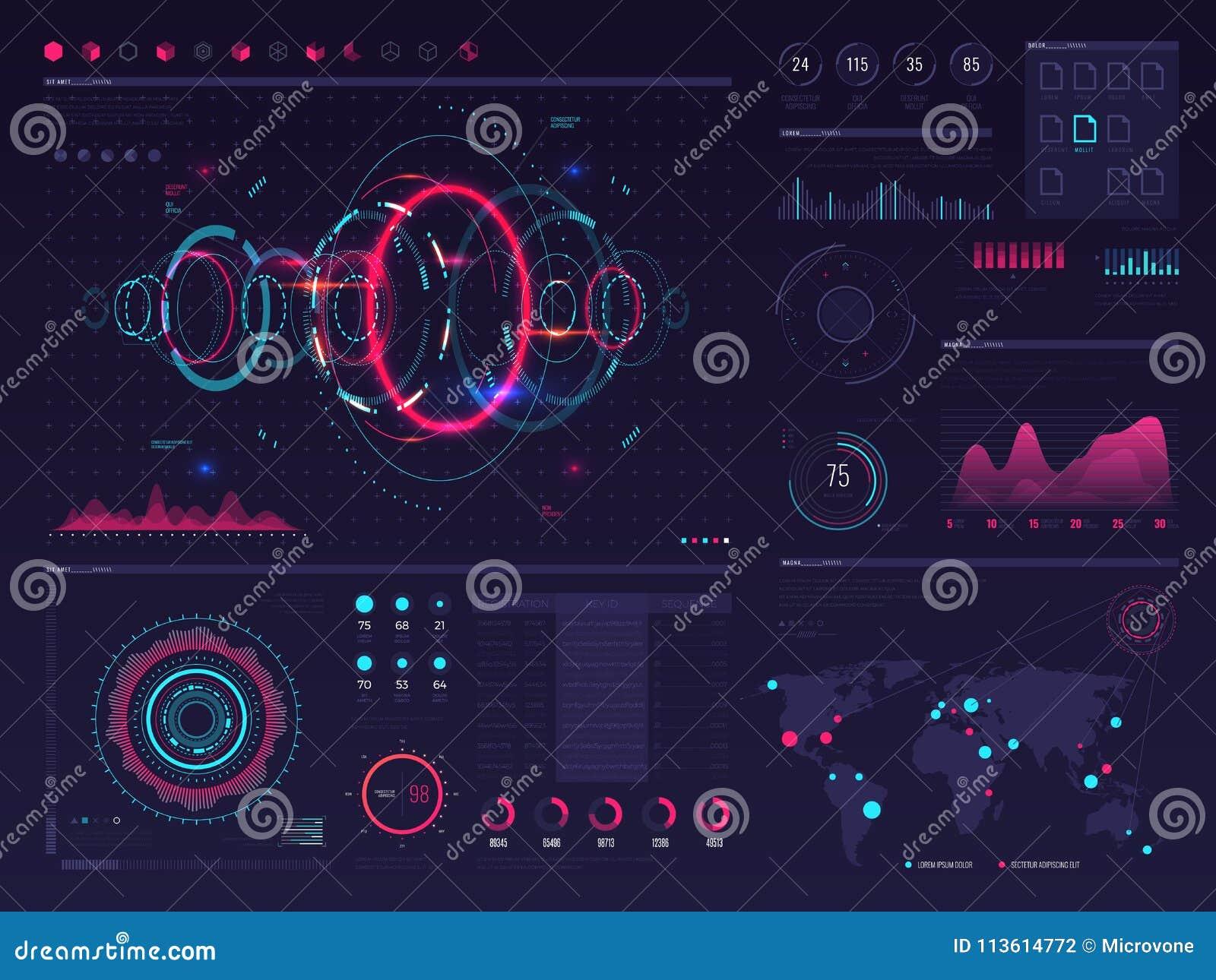 Futurystycznego hud dotyka cyfrowy parawanowy pokaz z wizualną dane grafiką, panel i mapa wektorowy infographic szablon,