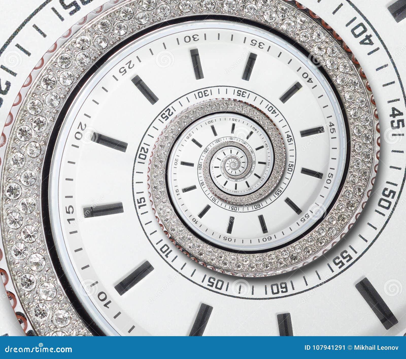 Futurystycznego nowożytnego białego zegarowego zegarka abstrakcjonistycznego fractal surrealistyczna spirala Zegarek tekstury wzo