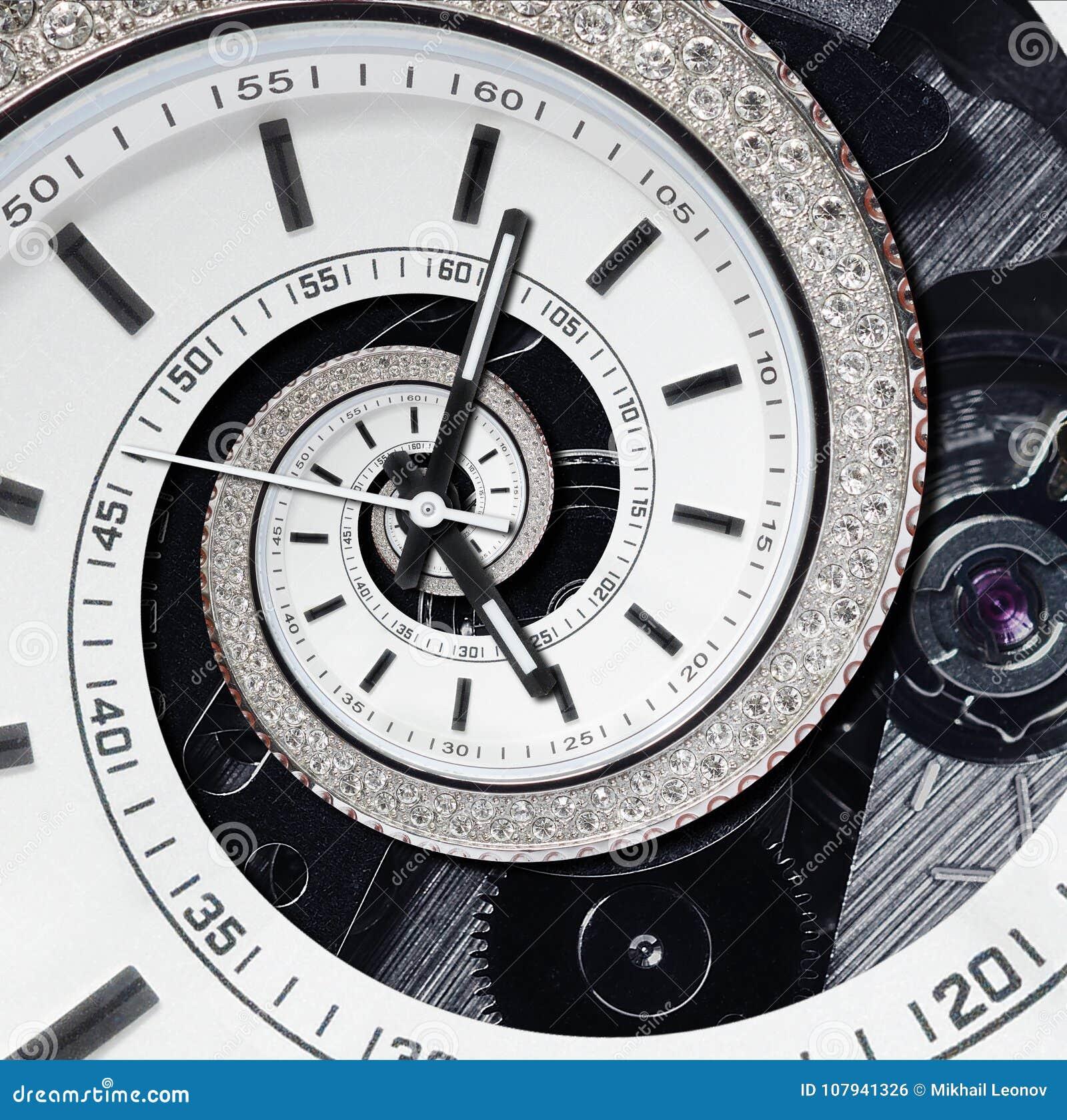 Futurystycznego nowożytnego strass zegarowego zegarka diamentowego białego abstrakcjonistycznego fractal surrealistyczna spirala
