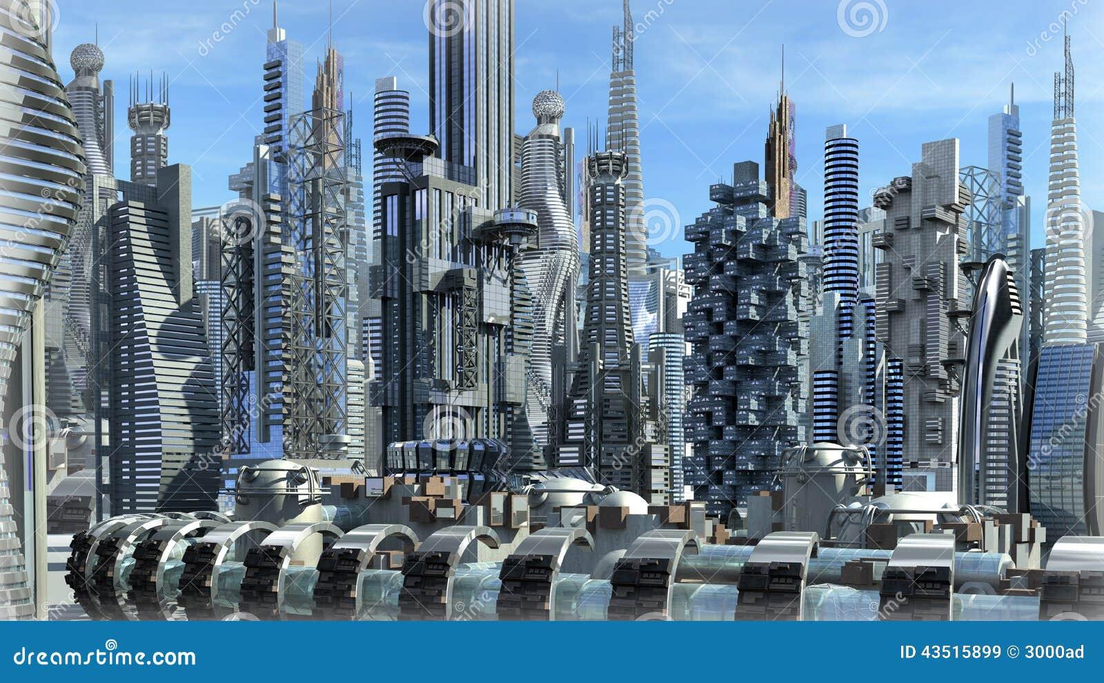 Futurystyczny architektoniczny miasto