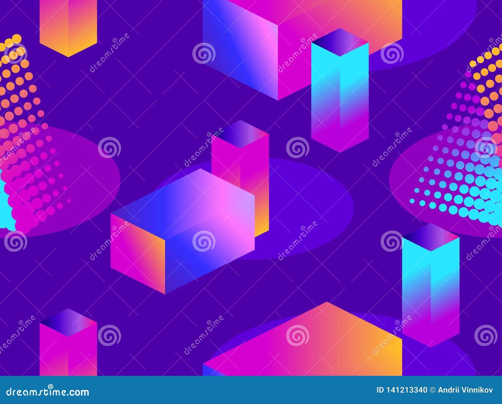 Futurystyczny bezszwowy wzór z geometrycznymi kształtami Isometric 3d przedmioty błękitny gradientowe purpury Retrowave wektor