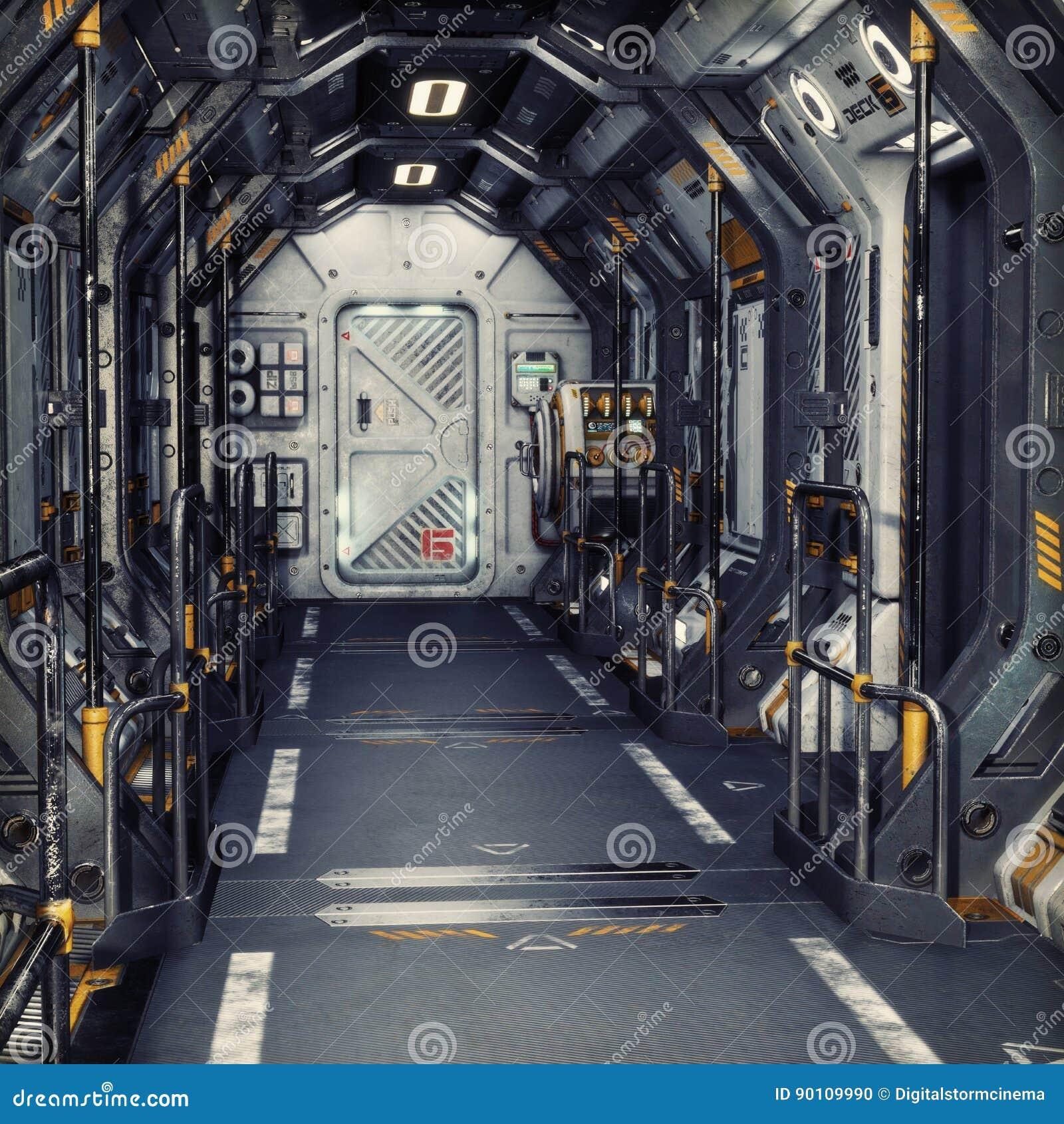 Futurystyczny metalu fantastyka naukowa korytarza statku lub tunelu wnętrze śliwek 3 d łatwej edycji ilustrację do akt ścieżka św