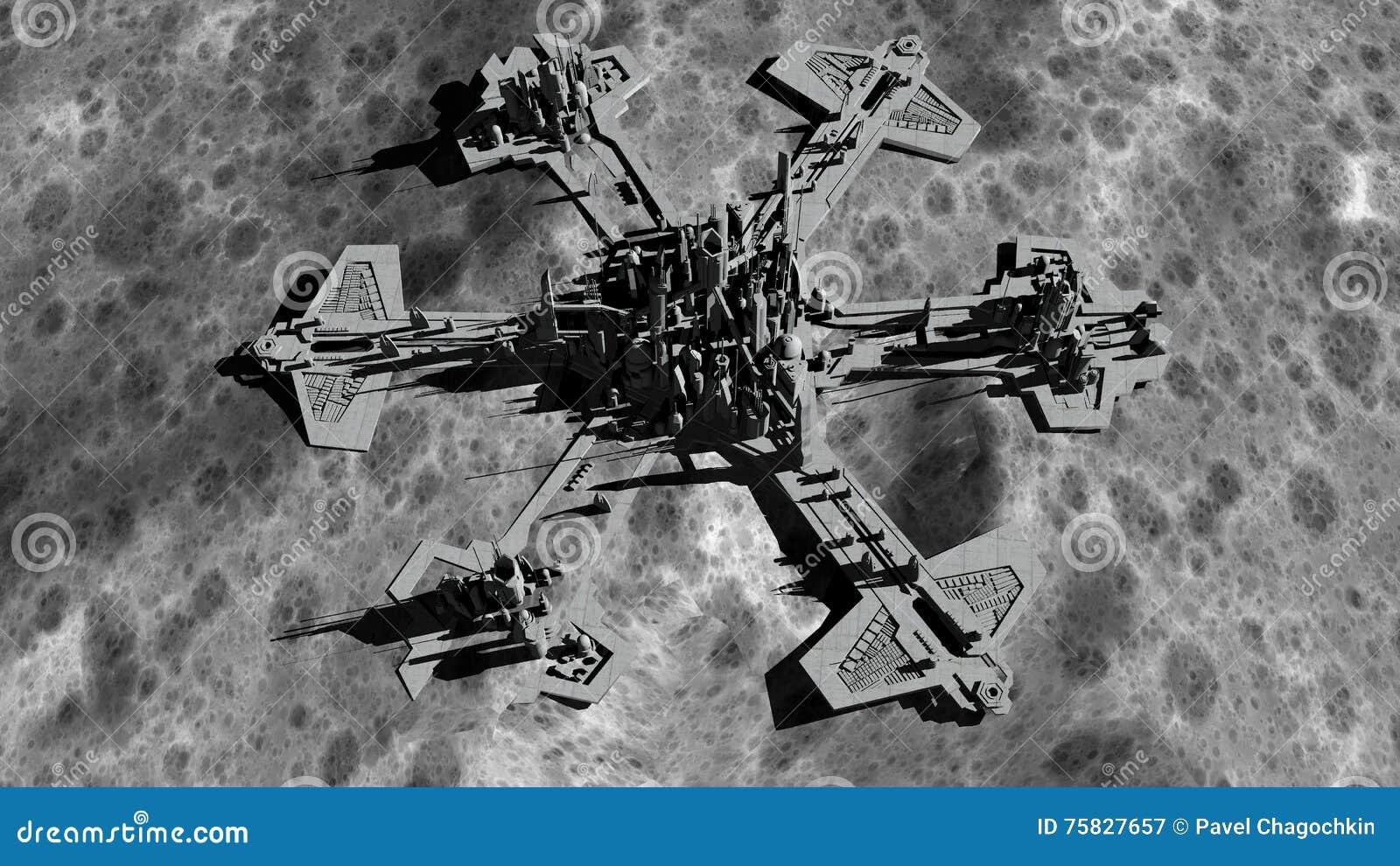 Futurystyczny miasto, baza, miasteczko na księżyc Astronautyczny widok planety ziemia wyprawa świadczenia 3 d