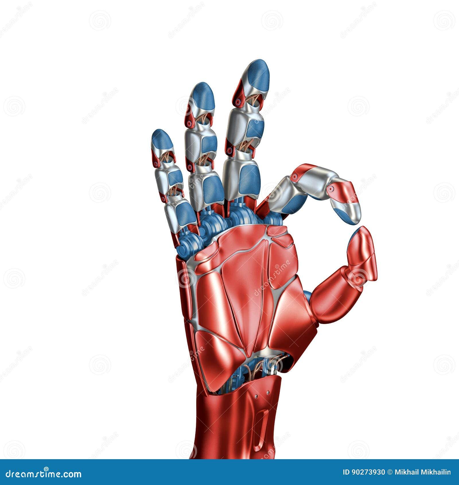 Futurystyczny pojęcie mechaniczny machinalnej ręki matte chrom Błękitny kolor Szablon odizolowywający na białym tle