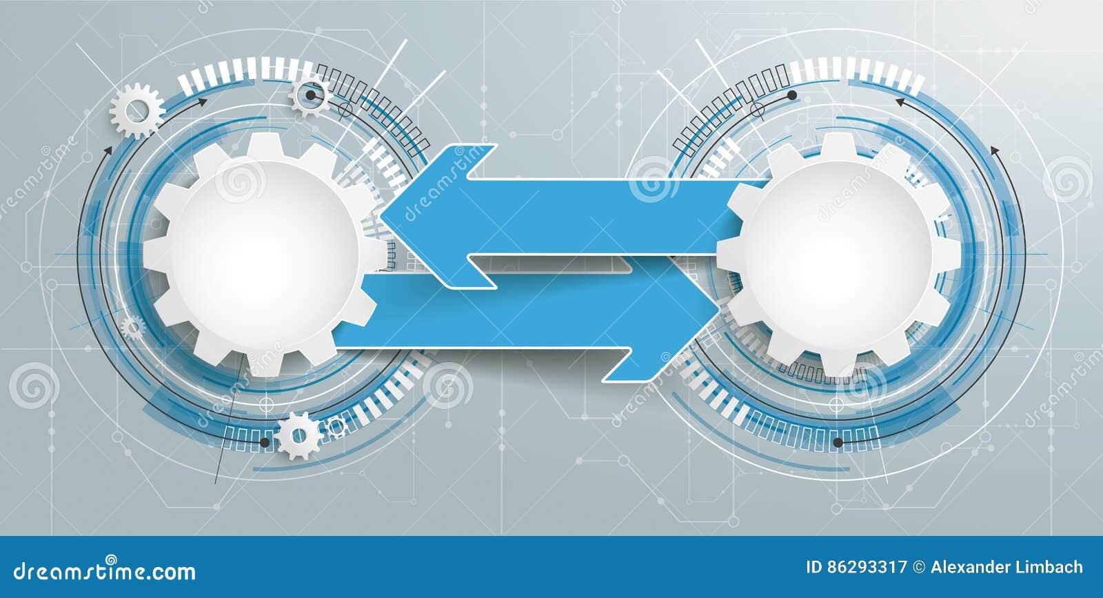 Futurystyczny 2 przekładni budowy strzała obwodu deski sztandar